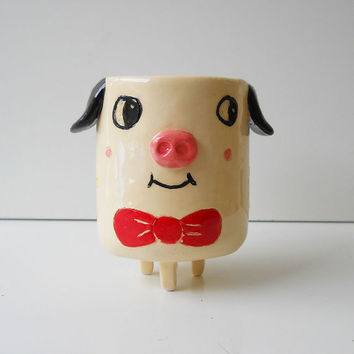 Fancy Pig  Ceramic Pottery Planter Tripod pot Spring Home Decor