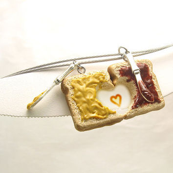 Friendship Peanut Butter & Jelly Sandwich Necklaces - Set of 2 - Personalized Best Friends Necklaces - Mini Food Jewelry