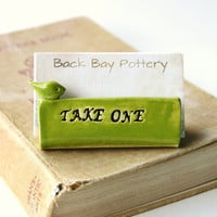 Take One Bird Ceramic Business Card Holder - Apple Lime Green - Custom Personalized Office Gift