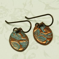 Oval Foliage Copper Earrings, Niobium Wires Handmade Blue Brown Leaves