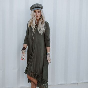 Lace Trimmed Long Sleeve Tunic Dress - Olive
