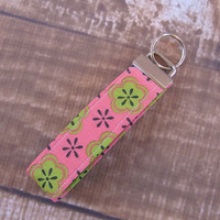 Ready To Ship Pink Green Flower Key Fob Wristlet Key Chain Fabric Key Chain