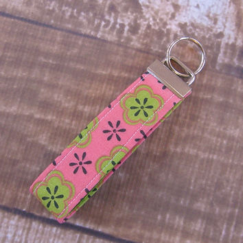 CLEARANCE Ready To Ship Pink Green Flower Key Fob Wristlet Key Chain Fabric Key Chain