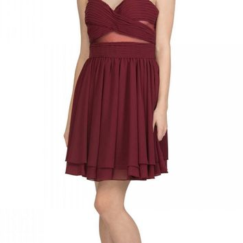 Burgundy Homecoming Short Dress with Sheer Cut-Outs