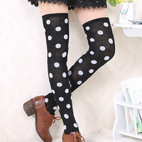 Black Polka Dot Over-the-Knee Socks