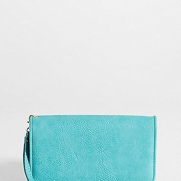 faux leather wristlet with crossbody strap in turquoise | maurices