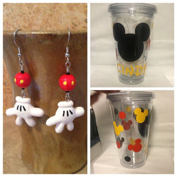 Gift Bundle Mickey Personalized Tumbler and Earrings
