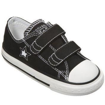 Toddler's Converse One Star 2-Strap Canvas Oxford Shoe - Black