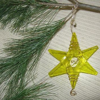 Teacher Gift / Fairy Garden / Weddings / Wedding Decorations /HANDMADE Fused Glass Star / Xmas Ornament / Suncatcher - Golden Yellow Glass