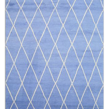 EORC Hand-knotted Wool Blue Transitional Trellis Moroccan Rug