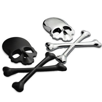 3D 3M Skull Skeleton Crossbones Car Motorcycle Sticker Label Skull Emblem Badge car styling stickers accessories decal