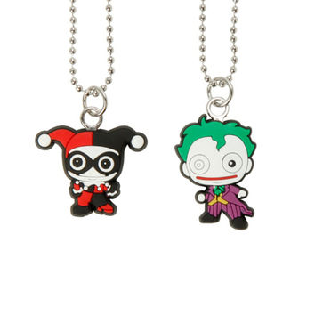 DC Comics The Joker Harley Quinn Kawaii Necklace Set