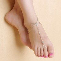 Stylish Gift Sexy Shiny Cute Jewelry Ladies New Arrival Yoga Tassels Chain Crystal Anklet [8527531015]