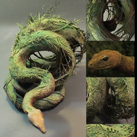 earth constrictor- original handmade OOAK clay art sculpture