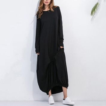 2018 Women Plus Size Dresses Long Sleeve Asymetrical Hem Kaftan Casual Dress O Neck Loose Solid Casual Shirt Dress Vestidos