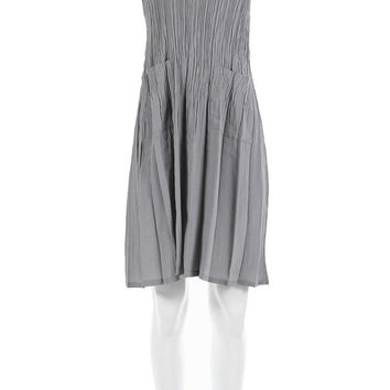 "Crinkle Pleated Dress 90's Vintage Minimalist Clothing Women's Size Small - Medium / Gray Pale Sleeveless Midi with Pockets "" Bust"