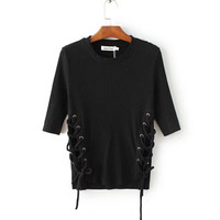 Sexy Metal eyelets lacing up Side T shirt   bralette bustier O neck Strappy side Tee Tops 3 color