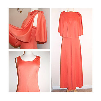 70s Long Evening Dress with Shoulder Cape Shrug . by Yves Jennet . 1970's Vintage Maxi . Peach Coral . size M