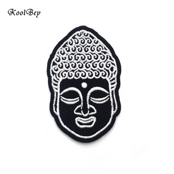 2pcs/lot Buddha Head Iron On Patch Embroidery Sewing DIY Customise Denim Cotton Hippy Hindu Buddhist Hipster SC3225