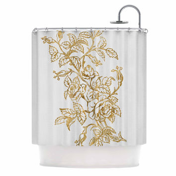 "888 Design ""Golden Vintage Rose"" Floral Digital Shower Curtain"