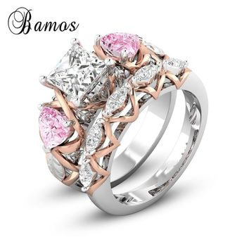 Bamos Pink Heart Engagement Ring Set Princess Cut Zircon Stone Ring Fashion Stackable Wedding Rings For Women Luxury Jewelry