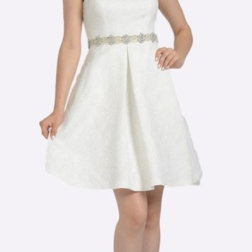 Off White Sleeveless Short Cocktail Dress Embellished Waist with Pockets