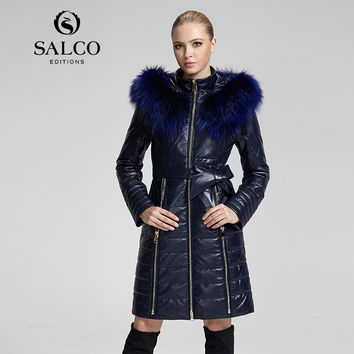 SALCO Free shipping 2016 newest popular in Europe and America long raccoon fur hooded leather jacket ladies section