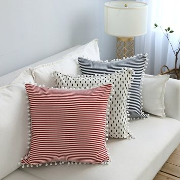 New Stripes Tree Printing Cotton Pillow Covers Ball Tassels Comfortable Throw Pillow Case Sofa Square Cushion Cover Home Decor