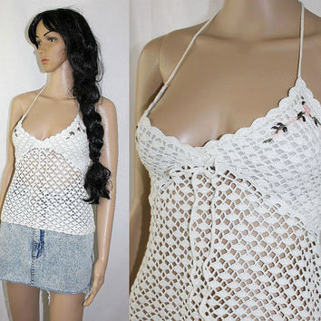 VinTagE 90s CROCHET TOP sheer white & floral gypsy beach halter tank NWT - c1072