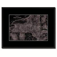 New York Vintage Vivid Sepia Map Canvas Print, Picture Frames Home Decor Wall Art Decoration Gifts