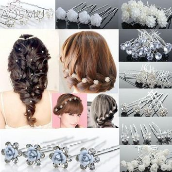 AOMU 20Pcs/lot Wedding Bridal Hair Pins Fake Pearl Crystal Hair Stick Flower Hairpin U Shape Hair Clips Hair Jewelry for Women