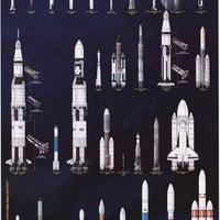 American Space Rockets NASA Poster 24x36