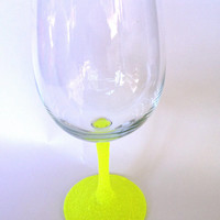 Bright neon yellow wine glass //SALE// add a name for free!