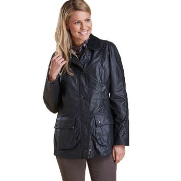 Classic Beadnell Wax Jacket in Navy by Barbour