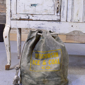 Vintage Canvas Bucket, Wisconsin Ice And Coal Co. Bucket With Metal Bottom, Canvas And Metal Tote