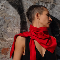 Infinity Red  Scarf,Red Satin Scarf, Asymmetric  Satin  Loop scarf, Unique  Accessory, Hand Painted, Red Loop Scarf, Red Collar, Satin Red