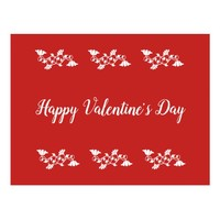 Red and White Floral Happy Valentine's Day Postcard