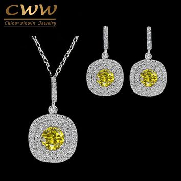 CWWZircons Brand Luxury Necklace Pendant And Earrings Micro Pave Setting Fashion Yellow Cubic Zirconia jewelry Set T022