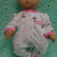 "American Girl Bitty Baby clothes ""Mommy's Cupcake"" (15 inch) doll outfit with sleeper and headband hair clip monkeys cupcakes"