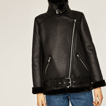 FAUX FUR COLLAR BIKER JACKETDETAILS