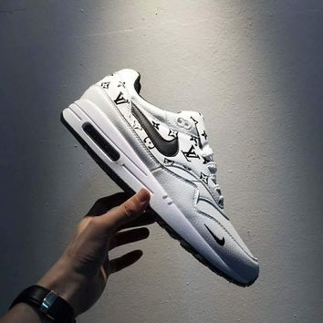 Supreme x Louis Vuitton x Nike Air Max 1 Custom LV x Sup White Black Fashion Women Men Running Sport Casual Shoes Sneakers I-A0-HXYDXPF