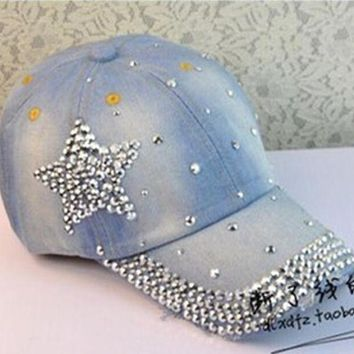 DCCKU62 2017 new design women rhinestone star denim baseball cap fashion pentagram gorras snapback hat