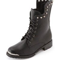Skull-Back Studded Combat Bootie