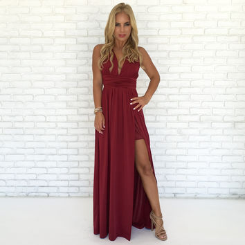 Always Your Girl Maxi Dress In Wine