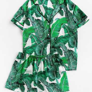 Palm Leaf Print Revere Collar Pajama Set | MakeMeChic.COM