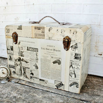 Vintage Wooden Travel Case with Antique Advertisements - Upcycled Sewing Machine Case