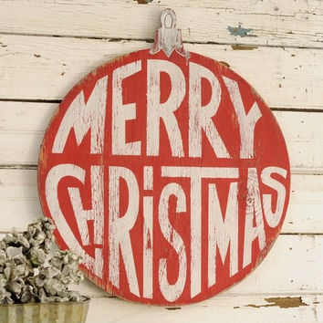 Merry Christmas Ornament Retro Wall Art Christmas Decor