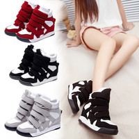 Lady Sneakers Wedge High Top Casual Sports Shoes Women Canvas Wedge Sneakers Platform Wedge Ankle Boots Shoes♥(Smaller 2 Size ,Please Choose 2 Size Larger!)♥ = 1947007172