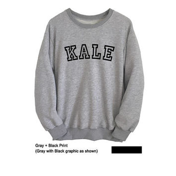 Kale Sweatshirt Tumblr Vegan Kale Shirt Mens Crewneck Sweatshirt Women Tops Long Sleeve College T Shirts Jumper Sweater Cool Gift Ideas