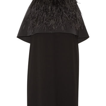 Tibi - Feather-embellished layered stretch-faille and crepe dress